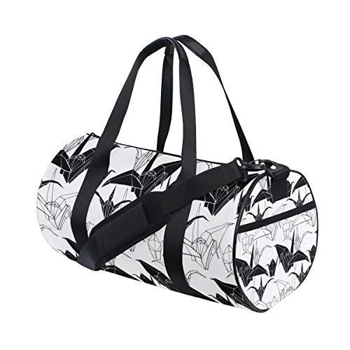 Ahomy - Bolsas de Hombro de Lona para el Hombro, diseño de grullas de Origami, Color Blanco y Negro