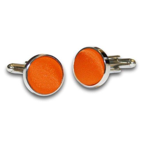 DQT Herren Einfarbig Satin Hochzeit Manschettenknöpfe Burnt Orange