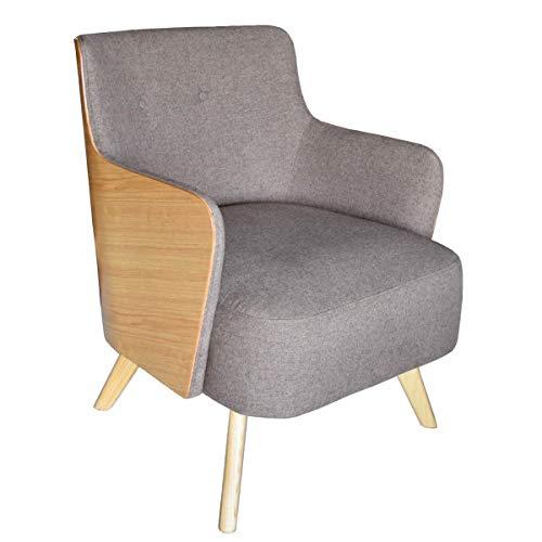 MATHI DESIGN ULVIK - Sillón escandinavo en tejido gris y madera