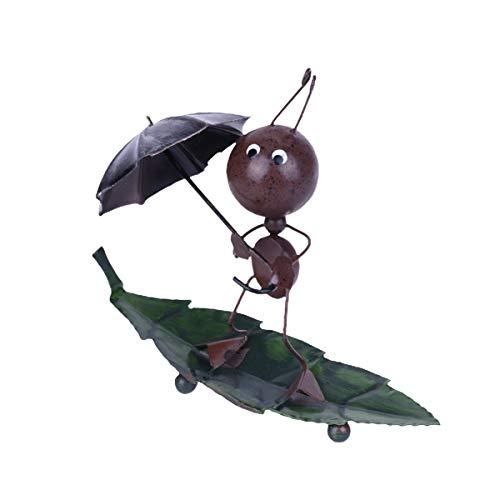 LIOOBO Figura de Arte de Hierro Hormiga Figura Modelo Escultura Adornos de Escritorio para Sala de Estudio Dormitorio Decoración de Oficina (Paraguas)
