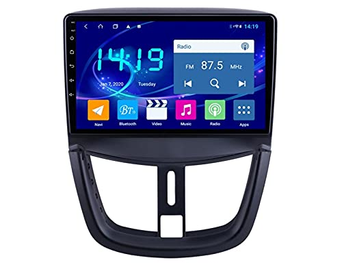 ZBHWYD Adatto per Peugeot 207 Auto Inversione Auto Immagine Grande Screen Dvd Android 9 Auto GPS Navigator, Android 10 8 Core 4 + 64g Autoradio Multimedia Player GPS Navigation