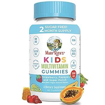 Vegan Kids Multivitamin Gummies by MaryRuth s | 2 Month Supply | Organic Ingredients for Immunity Bones Muscles | 260 mcg Methylfolate Sugar Free Non-GMO | Great Tasting Chewable Vitamins for Children