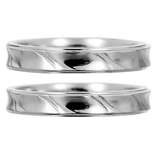 [ココカル]cococaru ペアリング 2本セット K10 ホワイトゴールド 結婚指輪 日本製 (レディースサイズ8号 メンズサイズ2号)