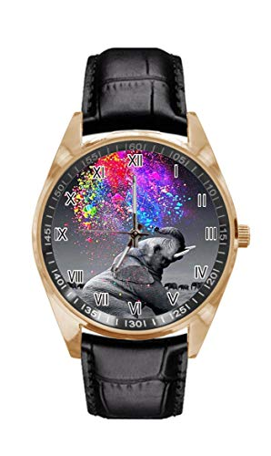 XUTAI Women Watches Colorful Animal Elephant Watercolor Spray Rainbow Watch Casual Fashion Gold Dial Black Leather Strap Men's and Women's High Performance Sports