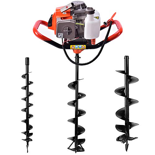 TBoxBo 72cc 2 Stroke Post Hole Digger, Can dig ice,3KW Petrol Gas Powered Earth Auger with 3 Bits(4