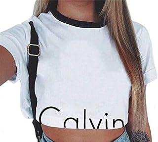 Summer Women Girls Casual Letter Printed Crop Top Ladies Slim Short Sleeves Tops T-Shirt Summer