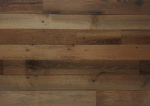 EAST COAST RUSTIC Reclaimed Barn Wood Wall Panels - Easy Install Rustic Wood DIY Wall Covering for Feature Walls (20 Sq Ft - 3.5' Wide, Brown Natural)