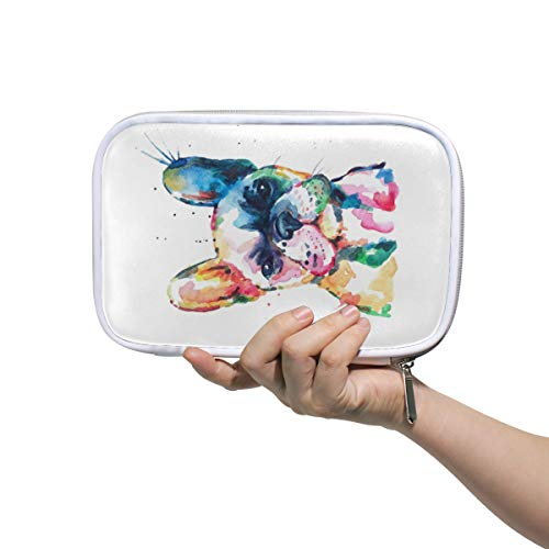 Watercolor French Bulldog Pencil Case Pen Bag Pouch Stationary Box Hand Bag, Travel Makeup Cosmetic Bag Passport Holder Storage for Women