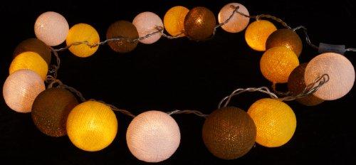 Stoff Ball LED Lichterkette gelb-braun-weiß / Kugel Lichterketten