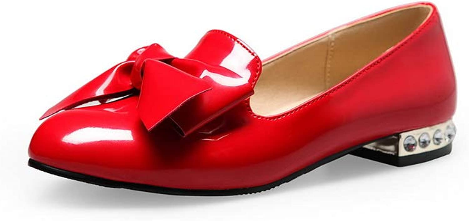 AdeeSu Womens Ribbons Bows Solid Urethane Pumps shoes SDC05586