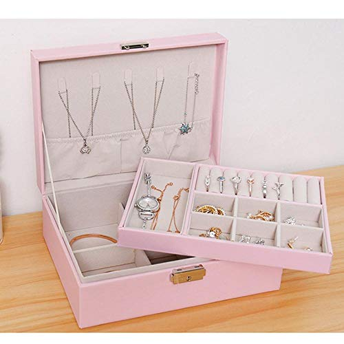 Caja de almacenamiento de caja de joyería de gran capacidad con cerradura, collar, pendientes, regalos de joyería-Rosado