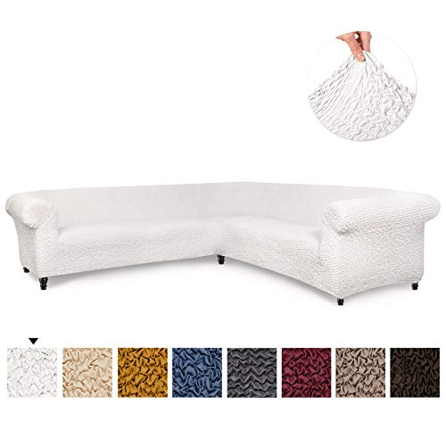 Sectional Sofa Cover - Corner Couch Cover - Corner Slipcover - Soft Polyester Fabric Slipcovers - 1-piece Form Fit Stretch Furniture Slipcover - Microfibra Collection - White (Corner Sofa)