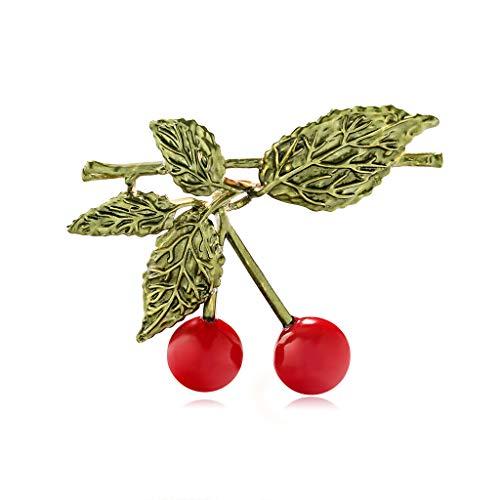 Yazilind Mode Doppel Kirsche Brosche Zweig Cerise Obst Grünes Blatt Abzeichen Schmuck