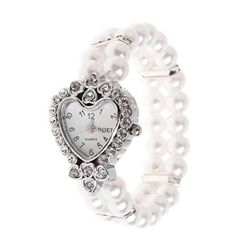siwetg Reloj de pulsera para mujer con perlas de imitación y estrás, elegante, pulsera para regalo, elástico, universal, decoración