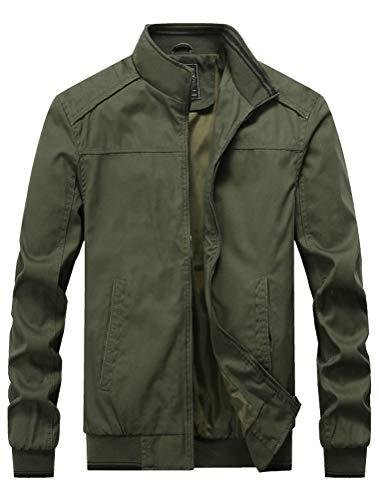 Green Bomber Jackets Mens Cotton
