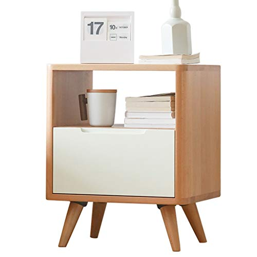 Best Bargain GCMJ Solid Wood Bedside Table Nordic Simple Modern Beech Small Side Table Storage Cabin...
