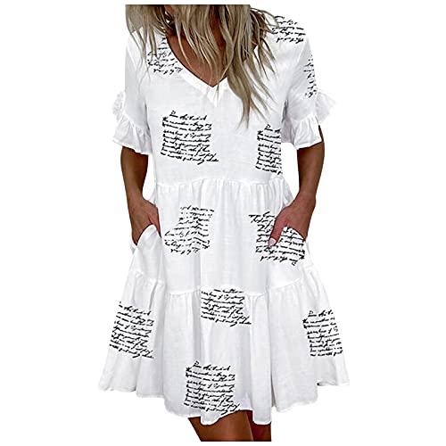 Damen Boho Stil Leinen Sommerkleider A-Linie Knielang Swing Kleid Kurzarm Partykleid Einfach Abendkleid Freizeit Wickelkleid Große Größen...