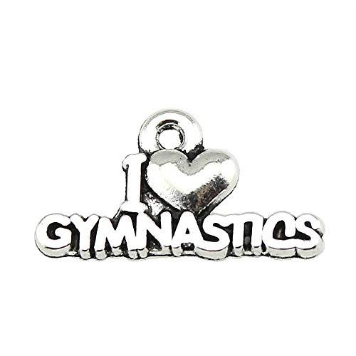 WYSIWYG 60 Piezas Encanto Colgantes para Pulseras I Heart Gymnastics 20x11mm Pendientes componentes para joyería Mujer.