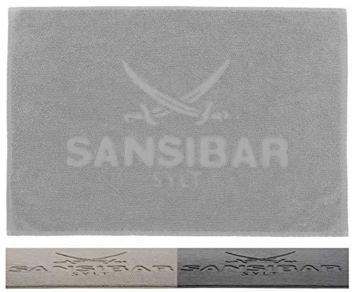 Sansibar Badvorleger 50x80 cm 100% Baumwolle Fein-Flor Badteppich Badematte Silber Einzeln