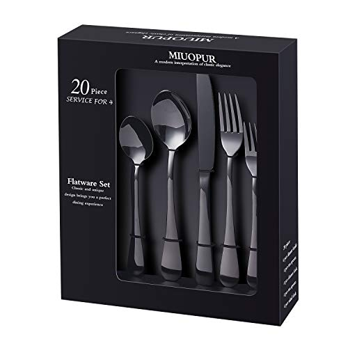 MIUOPUR Silverware Set, 20-Piece Stainless Steel Flatware Set Service For 4, Cutlery Set with Nice Gift Box, Black Mirror Polished, Ideal for Home Wedding Festival Party, Dishwasher Safe