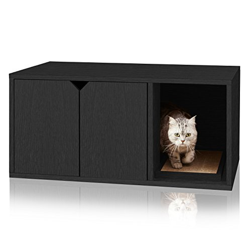 Way Basics Eco Cat Litter Box Enclosure Modern Cat Furniture (Tool-Free Assembly and Uniquely Crafted from Sustainable Non Toxic zBoard Paperboard), Black