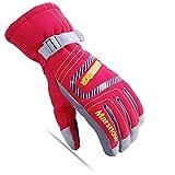 HZM Winter Outdoor Outdoor Skihandschuhe Winddichte, wasserdichte und warme Fahrradhandschuhe Eltern-Kind-Handschuhe-rot_XL