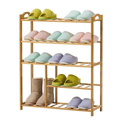 M-YN Zapatero Organizador de Almacenamiento Permanente de pie, apilable, Extensible, de bambú, de 5 Niveles, for Zapatos de 20 Pares, 88 x 70 x 25 cm