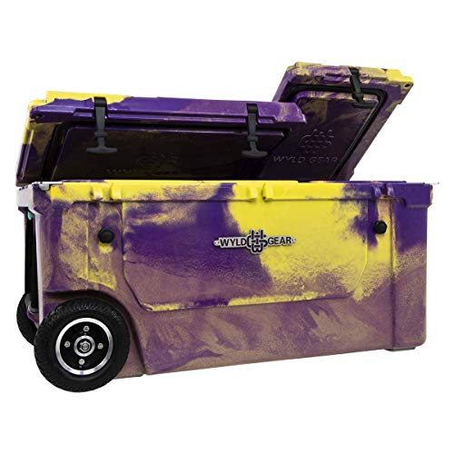 WYLD (14 Colors) 75 Quart Dual-Compartment Insulated Cooler w/Wheels & Tap Kit! Aerator Port Kit & Rod Holder Available for Camping Fishing Boating & Tailgating (75 Quart, Purple/Gold)