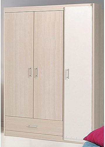 Kleiderschrank 3 Türen B 112 cm Akazie WeißSchrank Drehtürenschrank W heschrank Holzschrank Kinderzimmer Jugendzimmer Schlafzimmer
