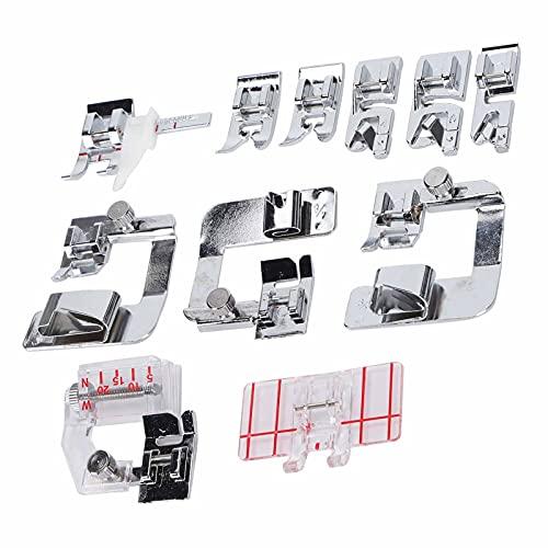 Kit de prensatelas para máquina de coser de 11 piezas, reemplazo de accesorios de máquina de coser de puntada paralela para dobladillo enrollado