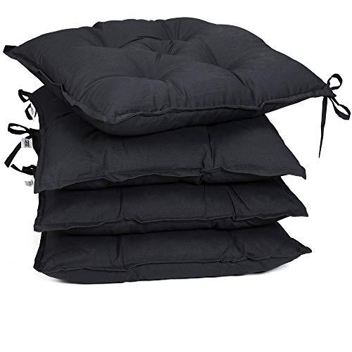 Detex 4er Set Stuhlkissen 40x40x8cm Viskoeffekt Indoor Outdoor Stuhlauflage Kissen Sitzkissen Auflage Polster Anthrazit
