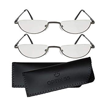 Reading Glasses Men - Half Frame Readers - Pack of 2 Mens Reading Glasses - Fashion Men s Readers with Pouch - Comfortable Gunmetal Frame with Rubber Tip Temples - By Optix 55  Gunmetal Grey 250.00