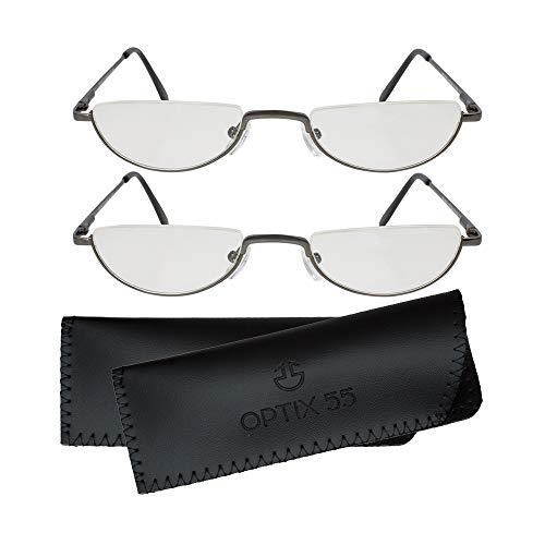 Reading Glasses Men - Half Frame Readers - Pack of 2 Mens Reading Glasses - Fashion Men's Readers with Pouch - Comfortable Gunmetal Frame with Rubber Tip Temples - By Optix 55 (Gunmetal Grey, 175.00)