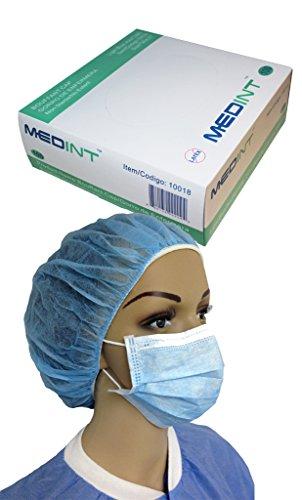 Bouffant Nurse Cap 21 Inch Light Blue Disposable Hairnet 14g Dispensing Box of 100 Pcs