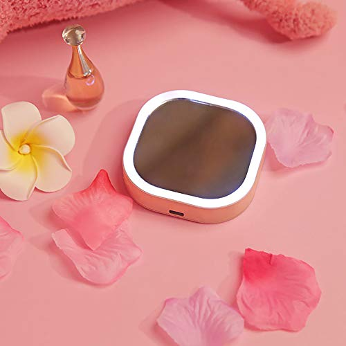 Taschenspiegel Schminkspiegel Notfall Power Bank mit LED Licht Kompakt Tragbarer Mini Make-up Spiegel,pink