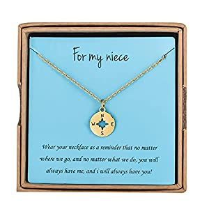 Dainty gold compass necklace gift for niece from aunt and uncle, come with a gift box. Made of stainless steel, polished finish and elegant, great gift for niece on birthday and christmas, won't fade. 14K gold plated, nickel-free and lead-free, won't...