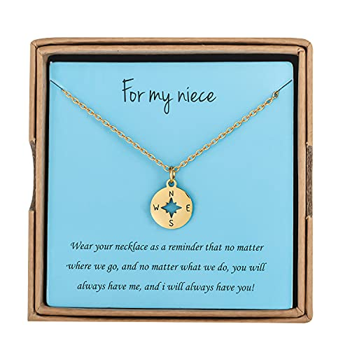 """Augonfever Aunt Niece Gifts from Auntie Gold Pendant Compass Necklace for Girls Women 18"""""""