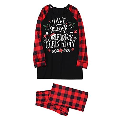 Hengyouhui Weihnachten Schlafanzug Familien Pyjama Set Brief Gedruckt Nachtwäsche Homewear Zweiteiliger Langarm Shirt und Pyjamahose
