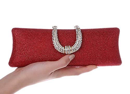 Bolso De Noche Mujeres U Diamond Gold Clutch Bag Crystal Broche Bolsos De Noche Mujeres Boda Novia Monedero Glitter Party Clutches Ladies Wllet-Red