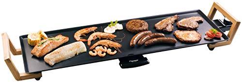 Bestron Teppanyaki Grillplatte XL im Asia Design, Mit Bambus-Griffen, Asia Lounge, 1.800 W, Schwarz