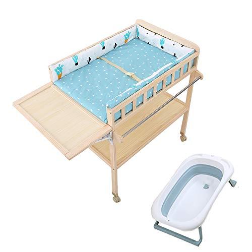 SSZY Cambiador Bebé Tocador de Madera para Cambiador de Bebé con Almohadilla de Baño Plegable, Organizador de Estación de Pañales Alto para Niños Niñas Bebés, Barandilla Elevada (Color : Blue)
