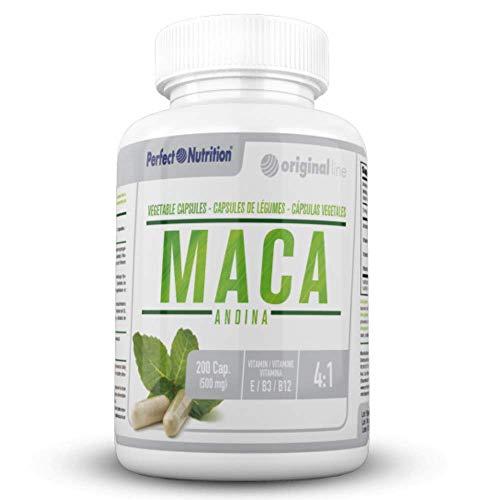 Maca Andina capsulas con vitaminas B12 E B3 pastillas natural suplemento vegano...