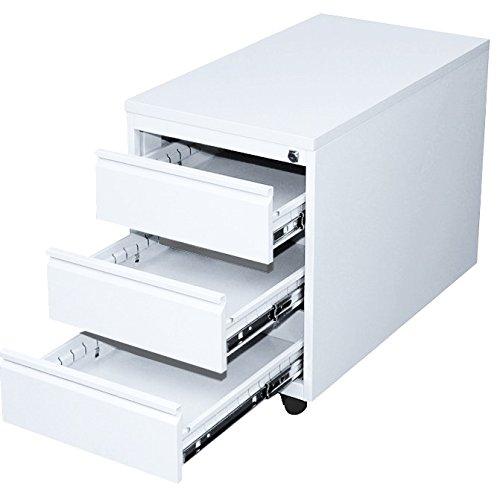 Lüllmann Profi Stahl Büro Rollcontainer komplett montiert und verschweißt Bürocontainer Container 3 Schubladen weiß 505807