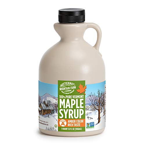 Butternut Mountain Farm Pure Vermont Maple Syrup, Grade A, Amber Color, Rich Taste, All Natural, Easy Pour Jug, 32 Fl Oz, 1 Qt