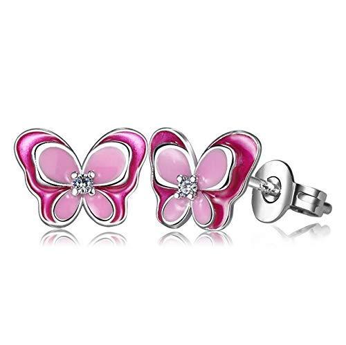 Zaaqio Pendientes pequeños de Mariposa de Esmalte Rosa de Plata 925 a la Moda para niños para bebés, niñas y Mujeres, Bonito Pendiente de Fiesta, joyería
