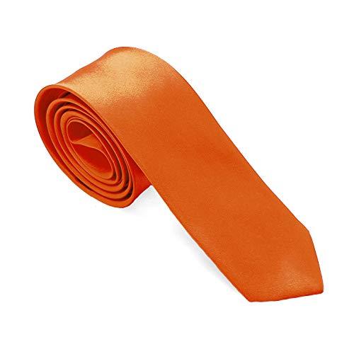tumundo 1 Krawatte Dunkel Orange Schlips Binder Schmal Satin Herren Damen Uni Glänzend Business Hochzeit für Hemd Anzug Fasching