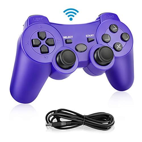 Powcan Mando Inalámbrico PS3, Bluetooth PS3 Gamepad Controller Doble vibración Mando a Distancia Joystick para Playstation 3 y PC Windows 7/8/9/10 con Cable de Carga USB (Azul 1)