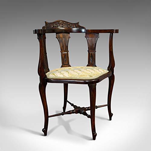 Sillón esquinero antiguo, francés, haya, asiento, estilo Art Nouveau, victoriano, C.1890