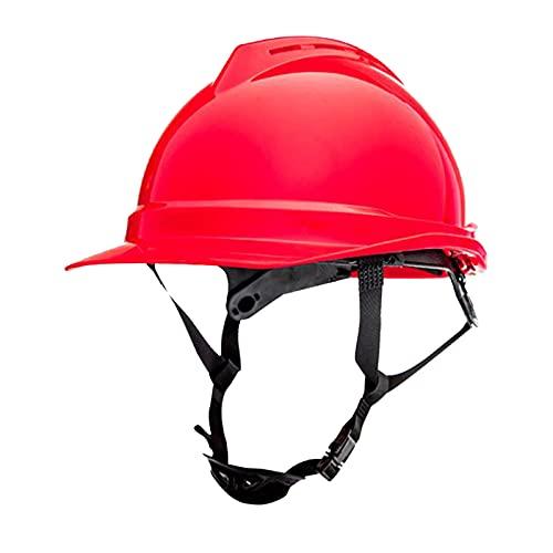 perfeclan Casco de seguridad, casco ajustable, protección para la cabeza, casco de seguridad para constructor de ingenieros de escalada - rojo
