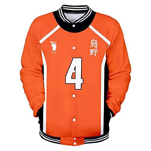 HAULBOTV Haikyuu!! Baseball Jacket Anime Vóleibol Chaqueta Uniforme de Beisbol, Negro Ropa Deportiva Cosplay Chaqueta